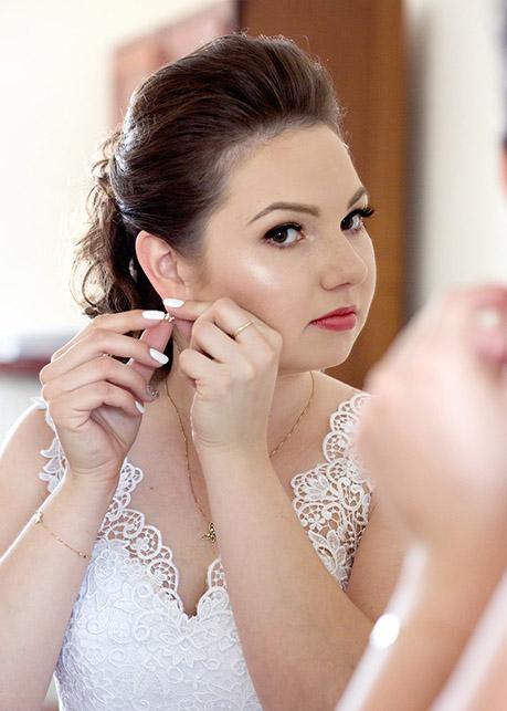 Bride prepares