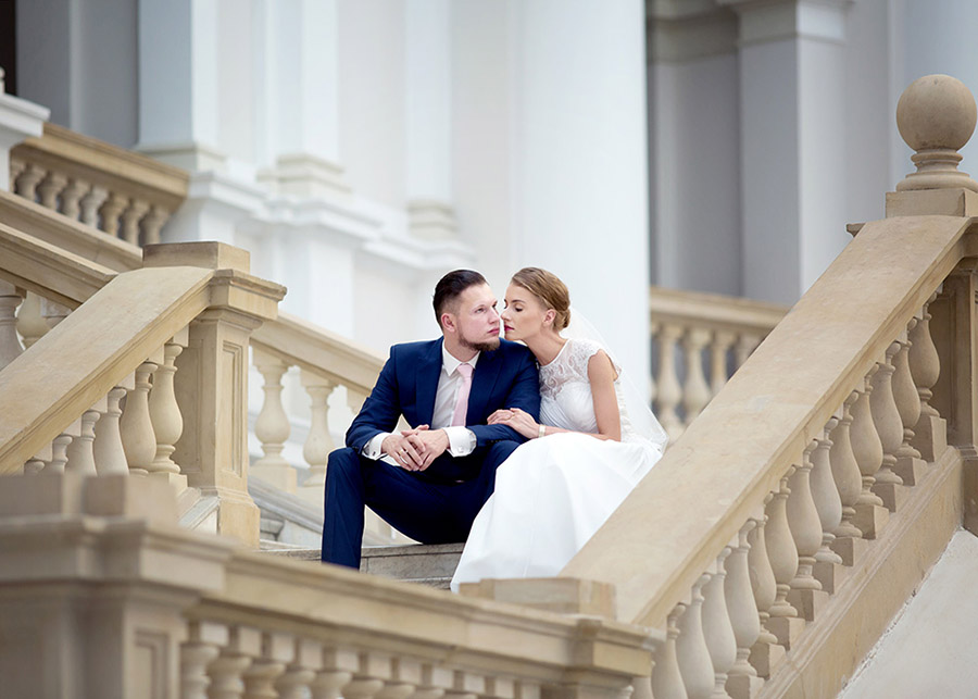 Marta and Łukasz's wedding photo session Main building of Warsaw University of Technology