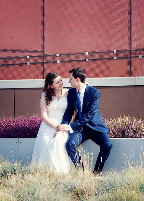Wedding session Garden on the roof of Copernicus Science Centre