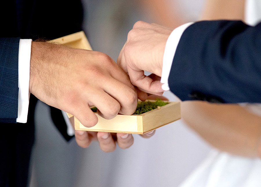 Wedding rings during Wedding Ceremony