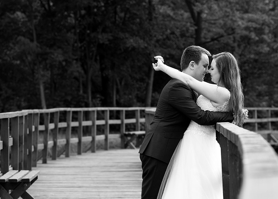 Bride and Groom during outdoor wedding photo sesssion