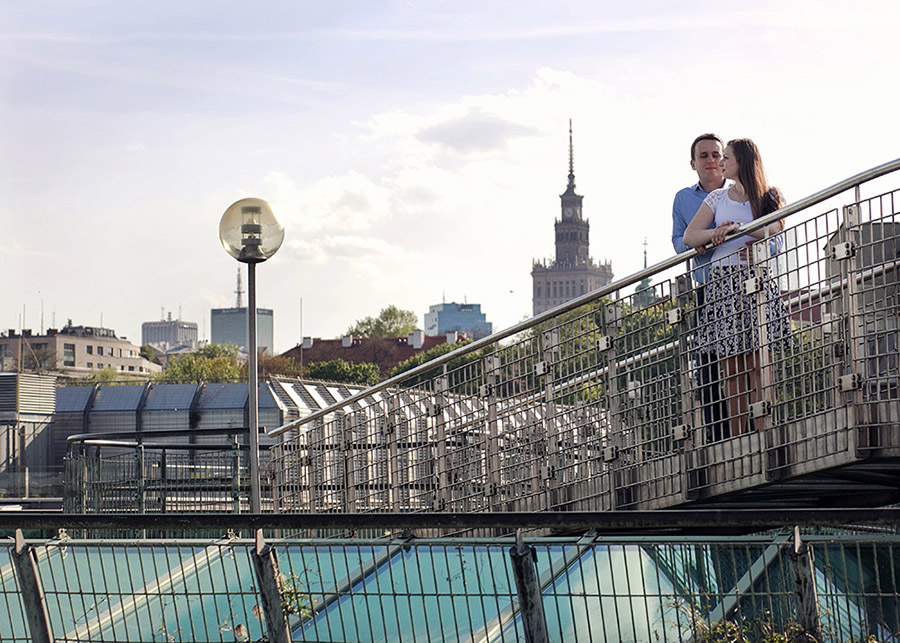 Angelika and Łukasz's engagement photo session Warsaw, Garden on the roof of Warsaw University Library