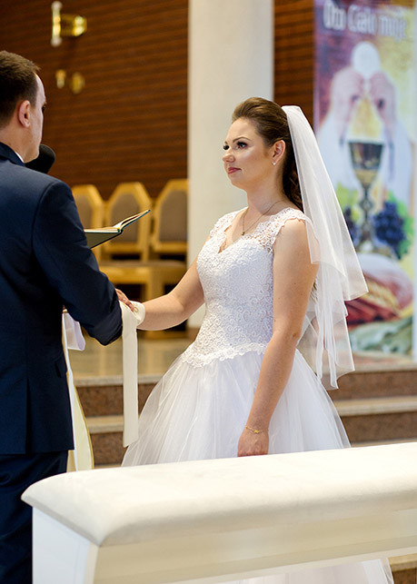 Bride during wedding vow