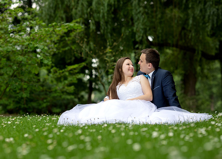 Bride and Groom during outdoor wedding sesssion